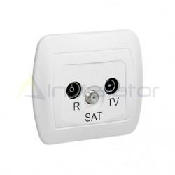 Gniazdo antenowe R-TV-SAT przelotowe, białe SIMON AKORD