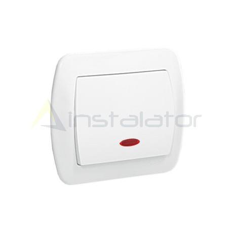 Łącznik jednobiegunowy SIMON AKORD biały z podświetleniem
