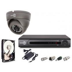 Zestaw do monitoringu analogowego: 1x kamera 900TVL, rejestrator 4ch + dysk 500GB